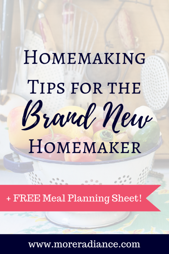 Homemaking Tips for the New Homemaker + FREE Meal Planning Sheet! | Hey Friend, do you need some homemaking help? Are you struggling with managing the home? Here's is a list of excellent home making tips for the new wife, weary mom, or busy house wife. These tips will help you become an efficient homemaker with meal planning tips, grocery tips, cleaning tips, and so much more!